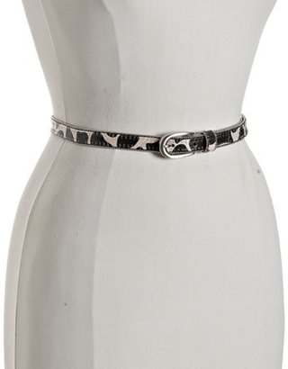 Fashion Focus ivory giraffe print glazed skinny belt - Belts