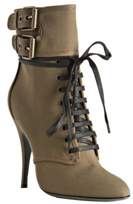 Balmain khaki canvas double buckle lace-up boots - Lace Up Boots