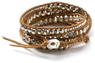 Chan Luu Leather Wrap Bracelet with Stainless Steel Beads - Bracelets