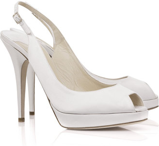 Jimmy Choo Clue satin peep-toe slingbacks - Heels