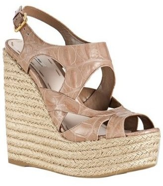 Miu Miu powder croc print leather platform espadrilles - Heels