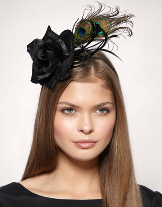 2adorn Black Fascinator With Rose And Peacock Feathers On Alice Headband - Feathered Headbands 
