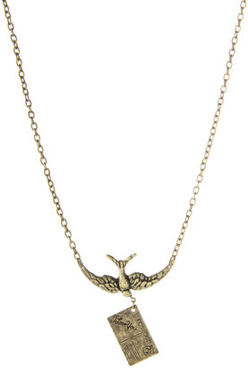ASOS Flying Swallow With Letter Charm Short Pendant - Gold Pendant Necklaces