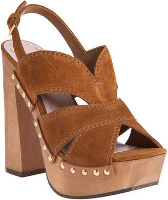 Miu Miu Studded Platform Clog - Tobacco - Chic and Easy Clogs