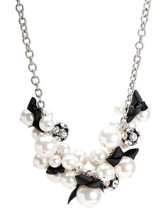 Pearl &amp; Fabric Puff Bobble Necklace - Layered Necklaces