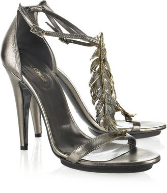 Roberto Cavalli Feather-embellished leather sandals - Roberto Cavalli