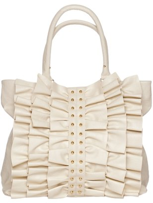 Sm Studded Ruffle Tote - Handbags