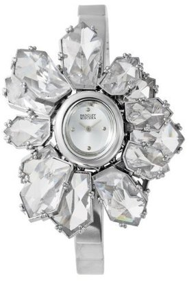 Badgley Mischka Women's BA1037SVSV Silver-Tone and Glass Petal Shaped Bangle Watch - Wild Watches