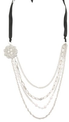 Silver Rose and Pearls Chain Necklace - Layered Necklaces