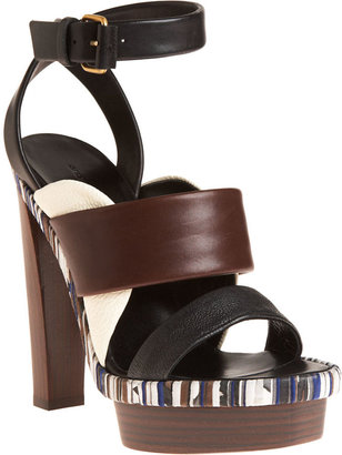 Balenciaga Platform Ankle Wrap Sandal - Black/Brown - Platform Sandals