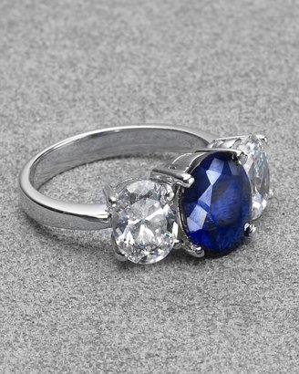 Crislu Cubic Zirconia Oval Ring with Sapphire Stone - Crislu