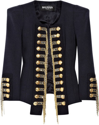 Balmain Silk-blend tweed military jacket - Outerwear