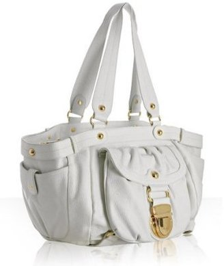 Hype white leather &#39;Lara&#39; pocket front tote - Hype