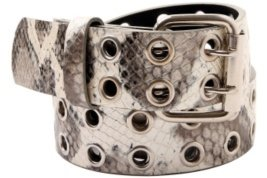 Iridescent Ivory and Silver Snakeskin Grommet Belt - Printed Belt