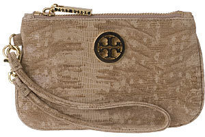 Handbags - Tory Burch Carson Wristlet Sand Leather - Leather Wristlet