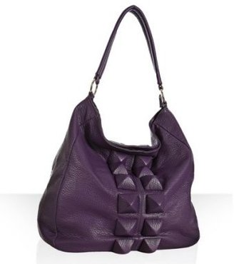 Deux Lux purple faux leather 'King' studded medium hobo - Oversized Tote