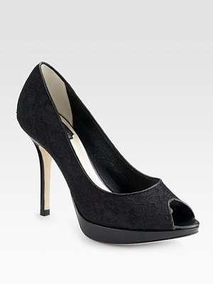 Dior Miss Dior Lace Peep-Toe Pumps - Heels