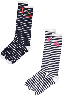 Nautical Striped Knee Socks - Socks