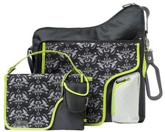 JJ Cole System 180 Diaper Bag - Black Damask - Diaper Bags