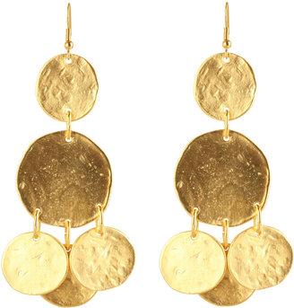 Kenneth Jay Lane Gold Coin Pierced Earring - Dangle Earrings