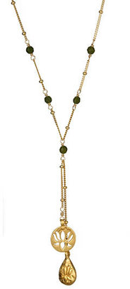 Satya Jewelry Jade Lariat Necklace - Gold Lariat Necklace