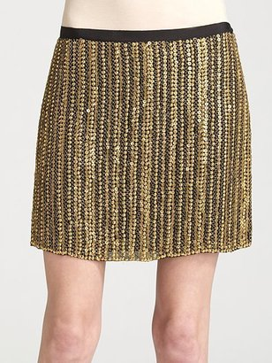 Theory Calinda Metal-Sequined Mini Skirt - Clothes