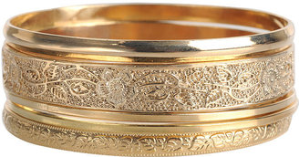 Floral Etched Bangle Set - Jewelry