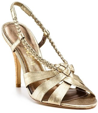 Delman &quot;Evie&quot; High Heel Sandals - Gold Heels