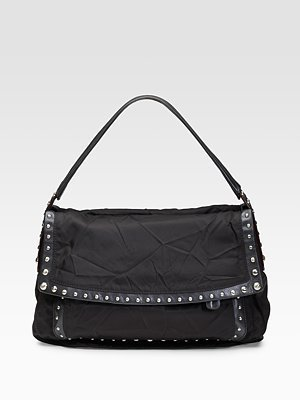 Donna Karan Crosstown Studded Flap Shoulder Bag - Studded Shoulder Bag