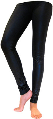 Plush Liquid Faux Leather Fleece Lined Leggings in Black - Clothes