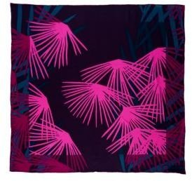 Silk Twill Square Scarf in Ferns Multi or Dancing Rose Red - Accessories