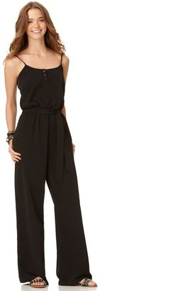 American Rag Jumpsuit, Sleeveless Scoop Neck Tie Wide Leg - Lindsay Lohan Jailbird Chic