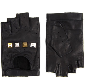 ASOS Leather Tarnished Stud Fingerless Gloves - Fingerless Gloves