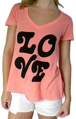 Wildfox - Women's Orange Fall In Love V-Neck Shirt - Playful Printed Tees