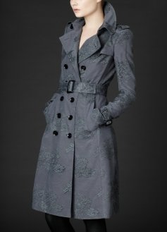 Double Breasted Silk Lace Trench Coat - Raincoat