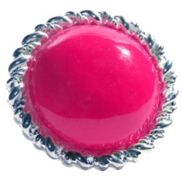 Large Silver and Neon-Pink Round Stone Ring - Funky Fluorescent Finds