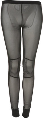 Satin Side Mesh Leggings - Futuristic Fashion