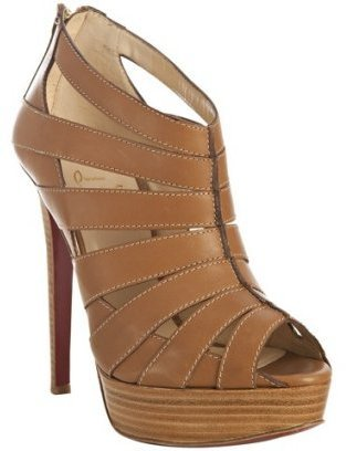 Christian Louboutin tan leather &#39;Pique Cire 140&#39; back zip platform sandals - Platform Sandals