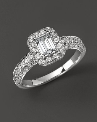 Diamond Ring with Emerald Cut Center Stone in 18 Kt. White Gold, 1.15 ct. t.w. - Diamond Ring