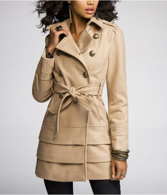 Express Tiered-Bottom Wool Trench Coat in Camel