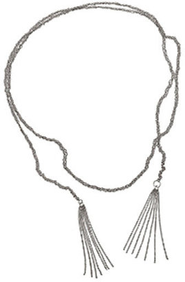 Jennifer Zeuner Braided Wrap Lariat with Fringe in Silver or Gold Vermeil - Lariat Necklaces