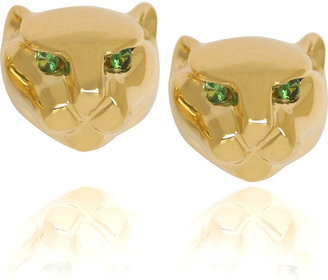 Anita Ko 18-karat gold Panther studs - Pouncing Panther Jewels 