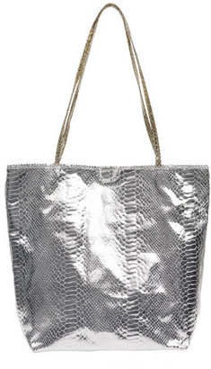 Carlos Falchi Barbarella Small Metallic Snakeskin Tote in Brown or Silver - Metallic Purses