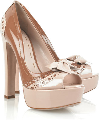 Miu Miu Patent-leather peep-toe pumps - Dress Like Emma Roberts