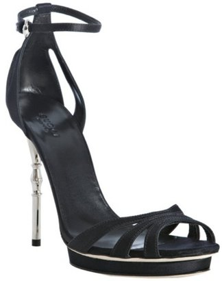 Gucci black satin &#39;Debra&#39; platform sandals - Sky-High Heels