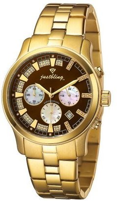 Just Bling Women&#39;s JB-6217-G Gold-Tone Chronograph Diamond Watch - Gold Chronograph Watches 