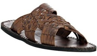 John Varvatos dark ghurka woven leather slide sandals - Leather Sandals for Men