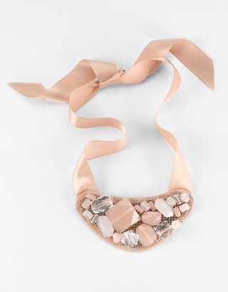 Catherine Stein Pink Satin-Tie Beaded Bib Necklace - Catherine Stein Necklaces