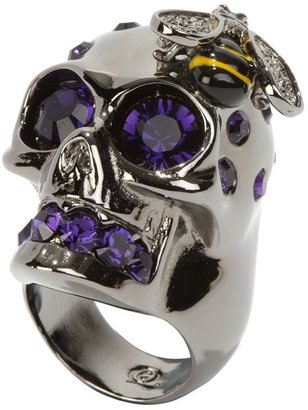 Purple Crystal Skull Cocktail Ring - Stellar Skull Jewels 