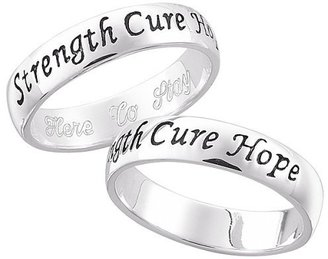 Sterling Silver Breast Cancer Awareness Sentiment Ring - Engraved Ring